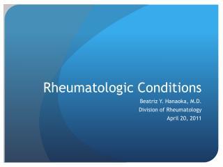 Rheumatologic Conditions