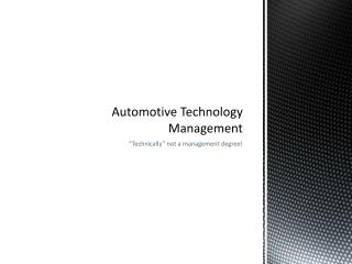 Automotive Technology Management