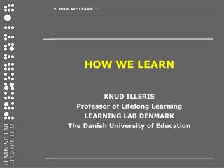 HOW WE LEARN KNUD ILLERIS Professor of Lifelong Learning LEARNING LAB DENMARK