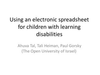 Using an electronic spreadsheet for children with learning disabilities