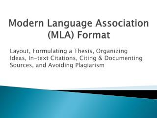 Modern Language Association (MLA) Format