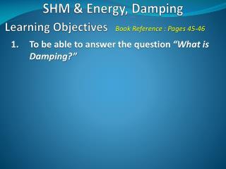 SHM & Energy, Damping