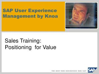 SAP User Experience  Management by Knoa