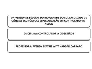 CONTROLADORIA DE GESTÃO I