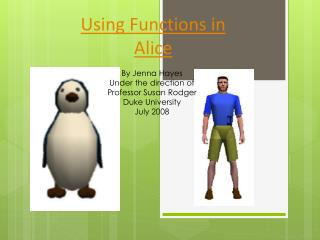 Using Functions in Alice