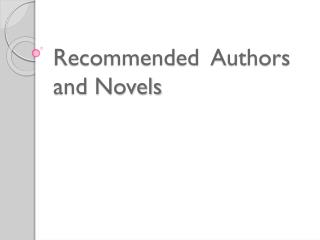 Recommended  Authors and Novels
