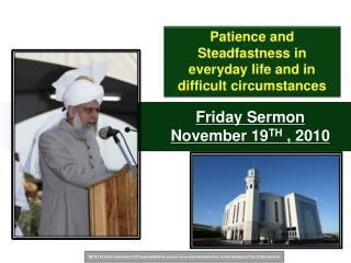 Friday Sermon November  19 TH , 2010
