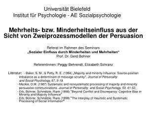 Universität Bielefeld Institut für Psychologie - AE Sozialpsychologie