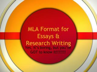 MLA Format for Essays & Research Writing
