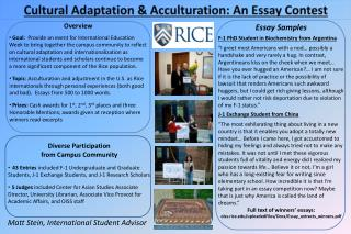 Cultural Adaptation & Acculturation: An Essay Contest