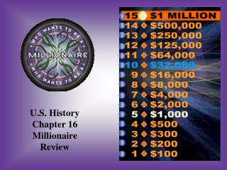 U.S. History Chapter 16 Millionaire Review