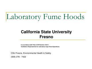 Laboratory Fume Hoods