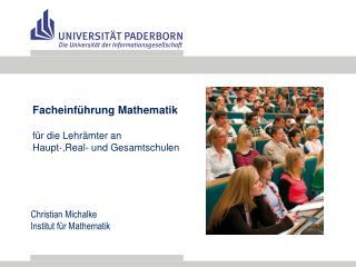 Facheinf�hrung Mathematik f �r die Lehr�mter an  Haupt-,Real- und Gesamtschulen