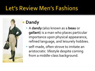 Let's Review Men's Fashions