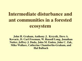 Intermediate disturbance and ant communities in a forested ecosystem