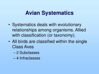 Avian Systematics
