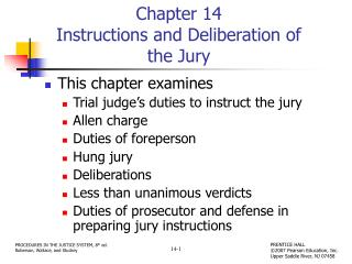 Chapter 14 Instructions and Deliberation of the Jury