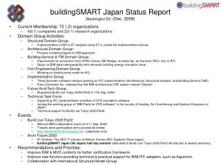 buildingSMART Japan Status R eport Washington DC ( Dec.  200 9 )