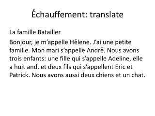 Ẻchauffement : translate