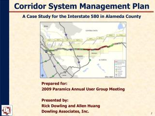 Corridor System Management Plan A Case Study for the Interstate 580 in Alameda County