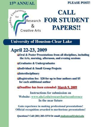 University of Houston-Clear Lake April 22-23, 2009