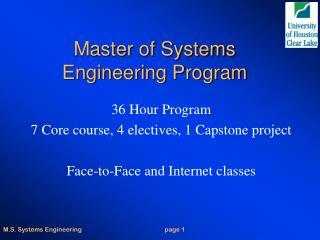 Master of Systems Engineering Program