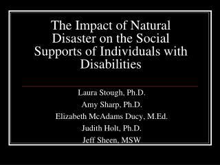 The Impact of Natural Disaster on the Social Supports of Individuals with Disabilities