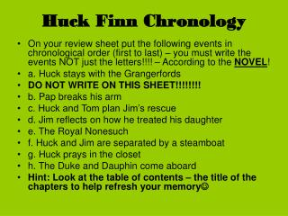 Huck Finn Chronology