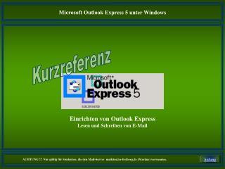 Einrichten von Outlook Express Lesen und Schreiben von E-Mail