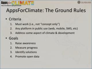 AppsForClimate: The Ground Rules