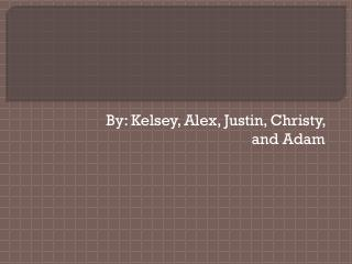 By: Kelsey, Alex, Justin, Christy, and Adam