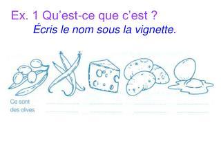 Ex. 1 Qu'est-ce que c'est ? Écris le nom sous la vignette.