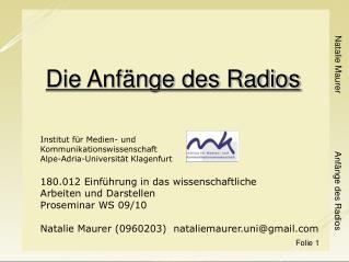 Die Anfänge des Radios