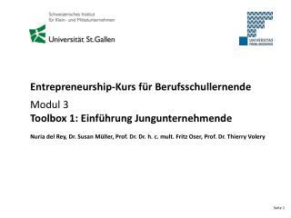 Entrepreneurship-Kurs für Berufsschullernende Modul 3  Toolbox 1: Einführung Jungunternehmende