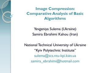 Image Compression:  Comparative Analysis of Basic Algorithms
