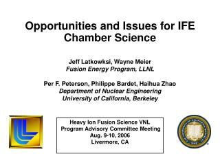 Opportunities and Issues for IFE Chamber Science