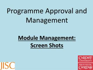 Programme Approval and Management Module Management:  Screen Shots