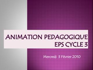 Animation PEDAGOGIQUE EPS Cycle 3