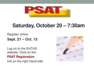 Saturday, October 20 – 7:30am