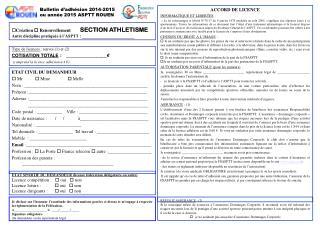 Bulletin d'adhésion 2014-2015 ou année 2015 ASPTT ROUEN