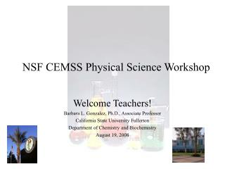 NSF CEMSS Physical Science Workshop
