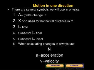 Motion in one direction