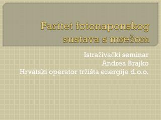 Paritet  fotonaponskog  sustava s mrežom