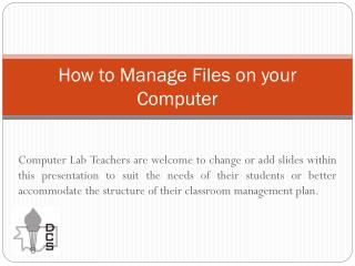 How to Manage Files on your Computer