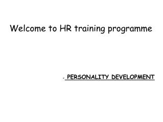 Welcome to HR training programme