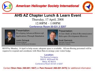 AHS AZ Chapter Lunch & Learn Event Thursday, 17 April, 2008 12:00PM – 1:00PM