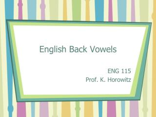 English Back Vowels