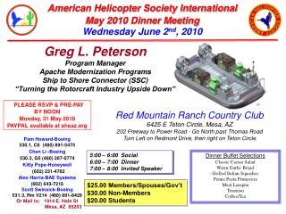 Greg L. Peterson Program Manager Apache Modernization Programs Ship to Shore Connector (SSC)