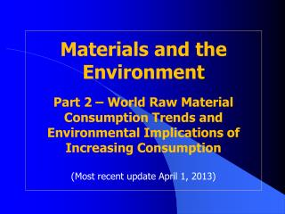 World Raw Material Consumption Trends