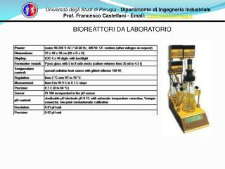 Universit� degli Studi di Perugia  -  Dipartimento di Ingegneria Industriale